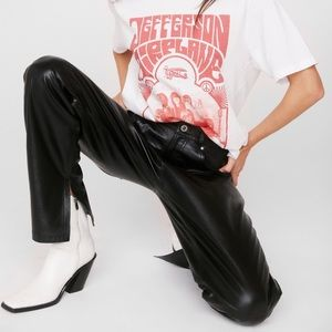 Nasty Gal Leather High Waisted Slit Pants
